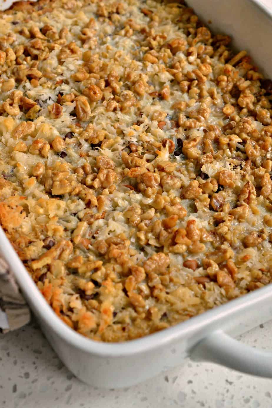 Filled with chocolate and peanut butter chips, coconut and walnuts these Magic Cookie Bars are sure to please everyone.