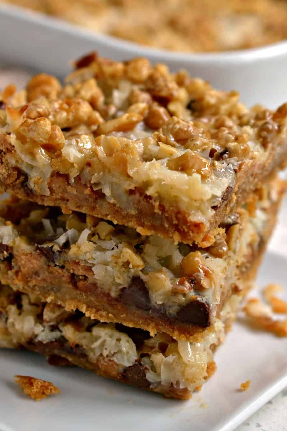 Scrumptious Magic Cookie Bars can be prepped and ready to go into the oven in less than five minutes