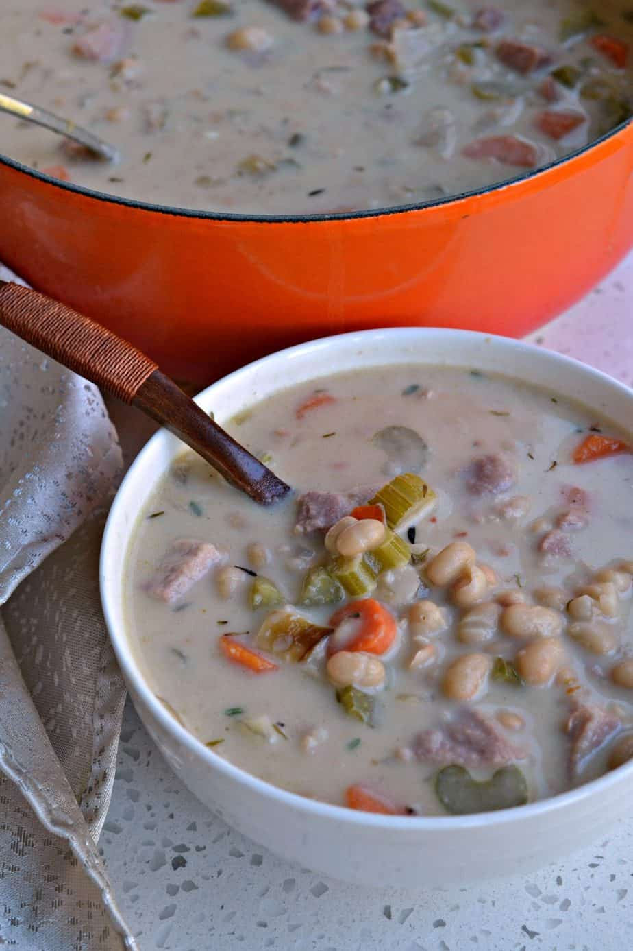 Being quick and easy makes this Ham and Bean Soup one of my favorite fall and winter weeknight meals.