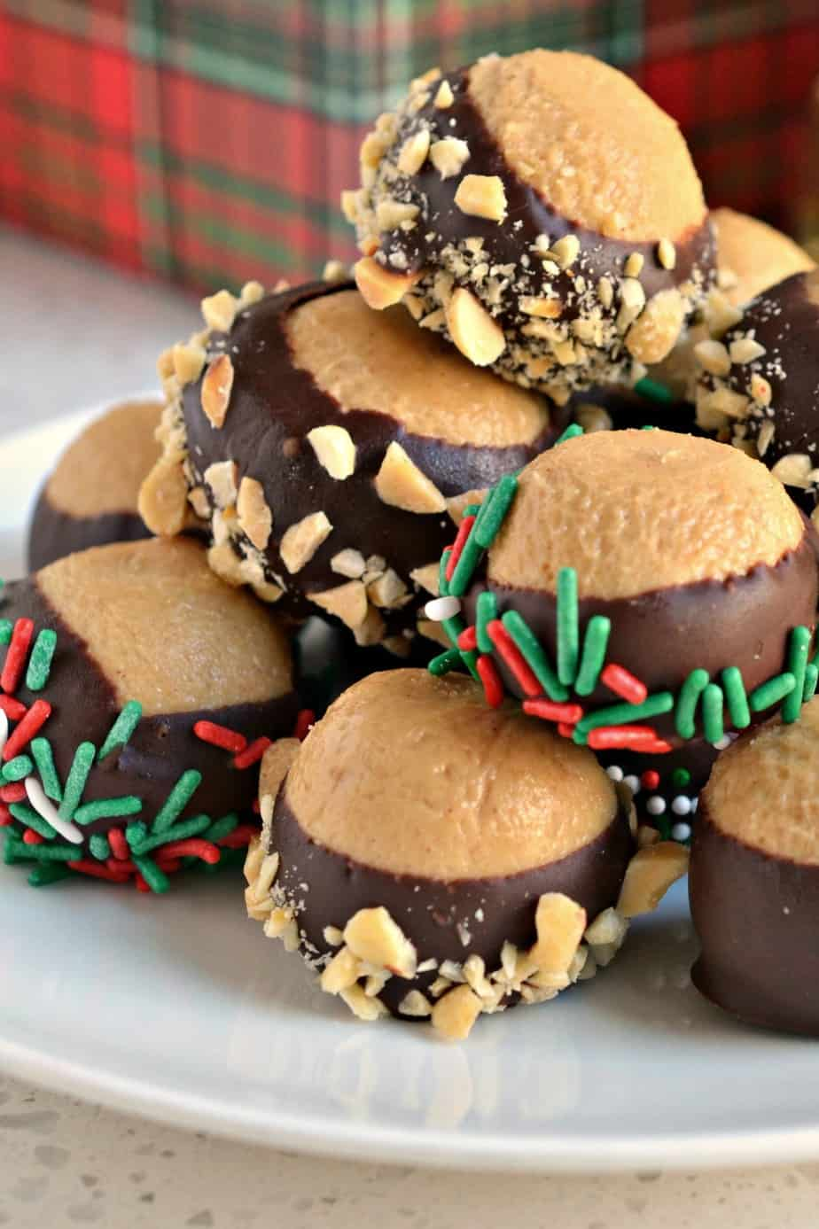 Buckeye Balls are perfect for holiday gift giving and Christmas cookie and candy trays.