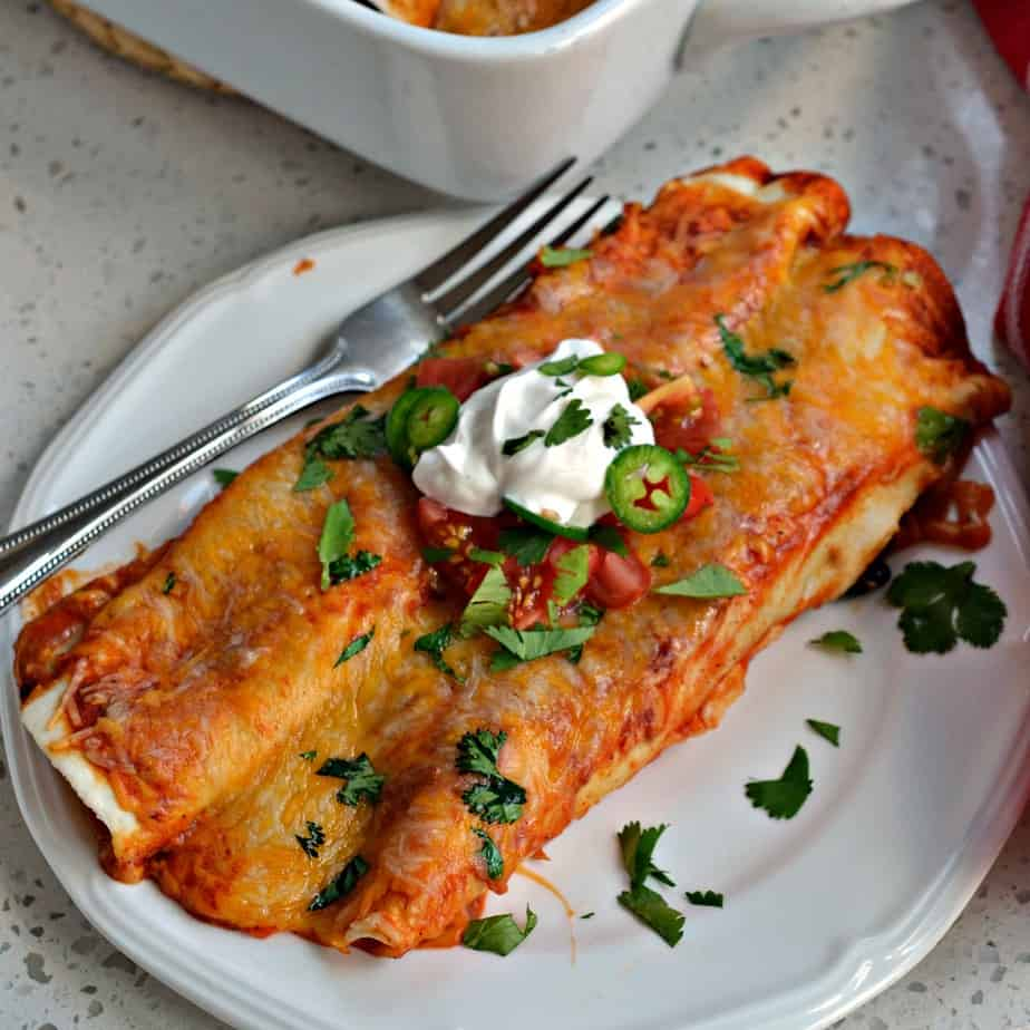 Chicken Enchiladas are always a hit with friends and family and they reheat very well in the microwave.