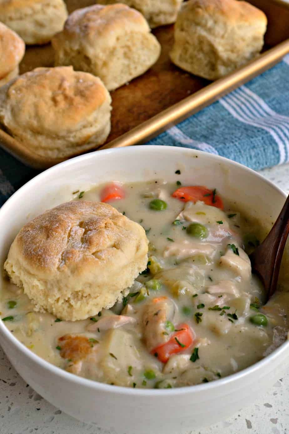 Chicken Pot Pie Soup has all the comforts of a pot pie without the time and hassle of rolling a fresh baked crust.