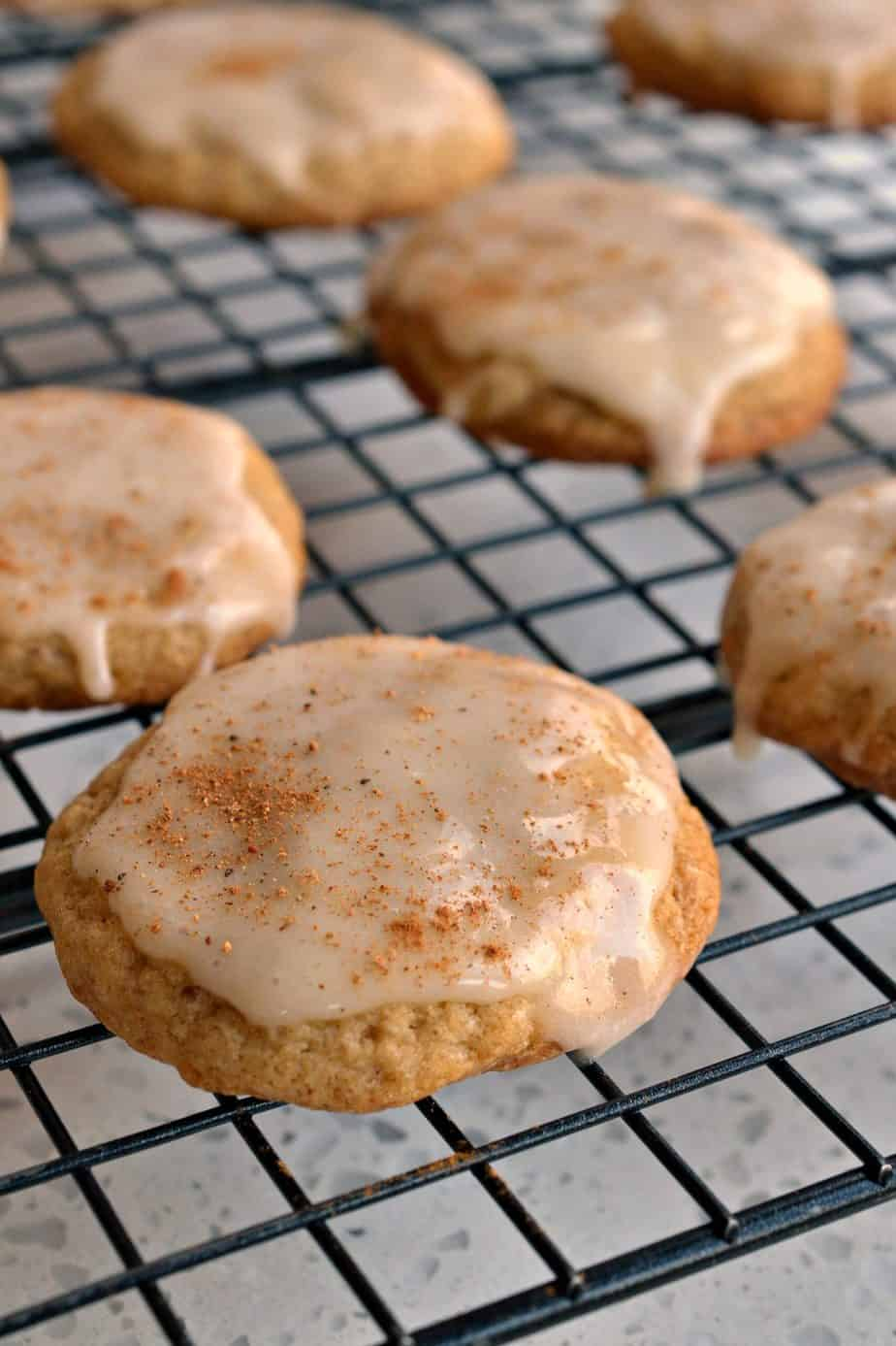 Fun and festive Eggnog Cookies have the rich creamy taste of eggnog sprinkled with nutmeg and cinnamon.