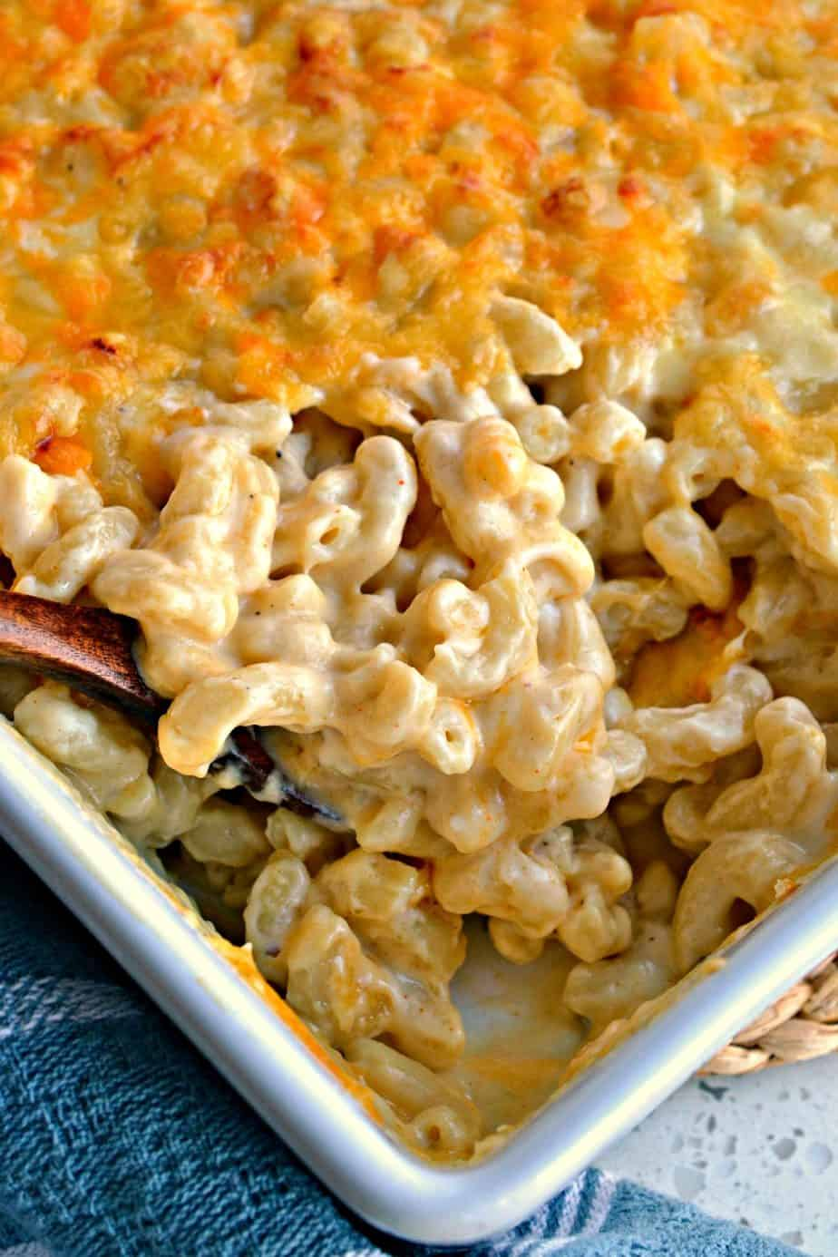 This Baked Macaroni and Cheese is over the top heavenly creamy with oodles of the perfect blend of cheeses.