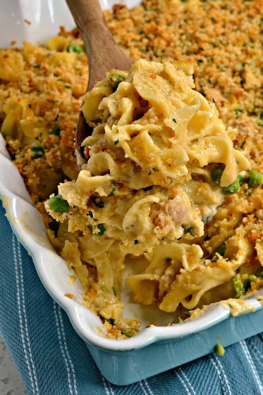 Classic Tuna Noodle Casserole has an easy to make luscious cheesy cream sauce and a simple to make breadcrumb topping.