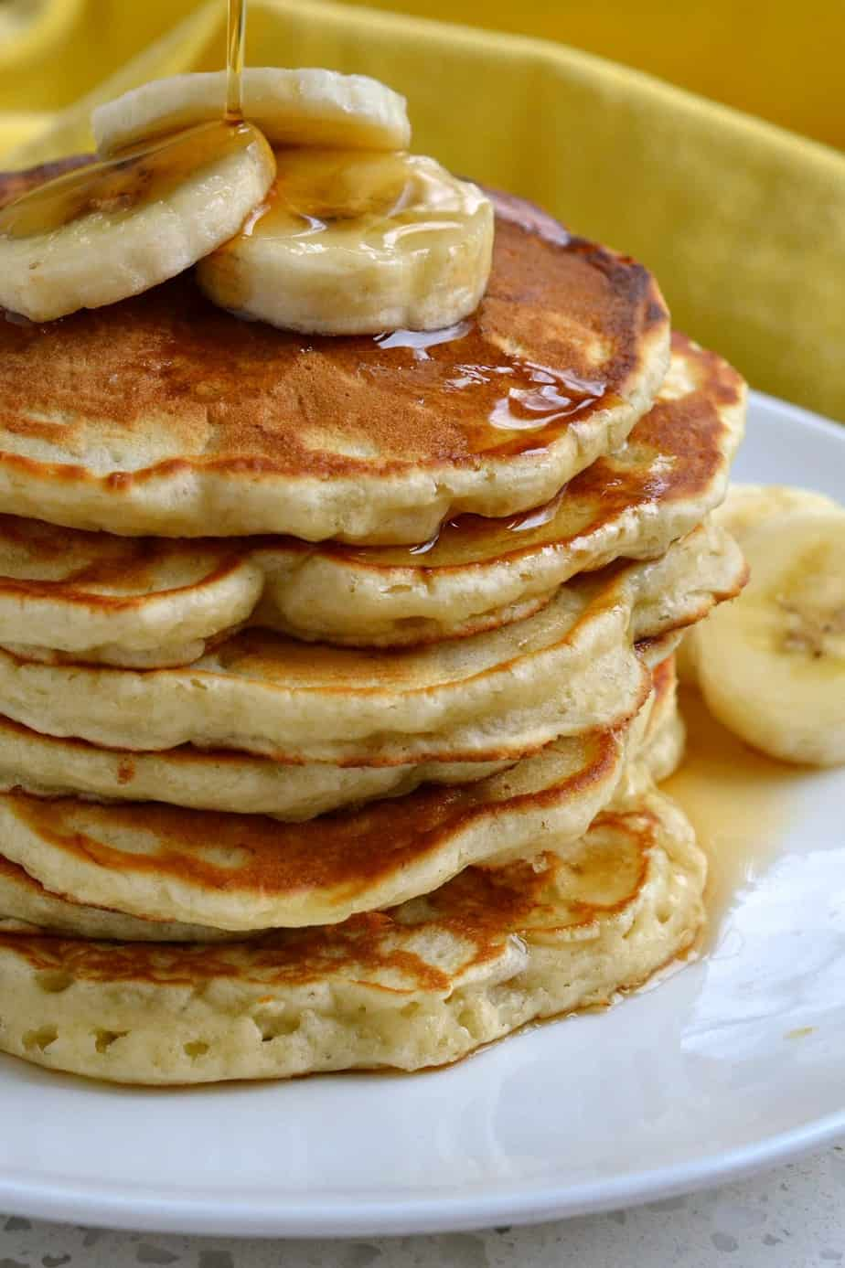 These light fluffy made from scratch buttermilk banana pancakes are hard to resist.