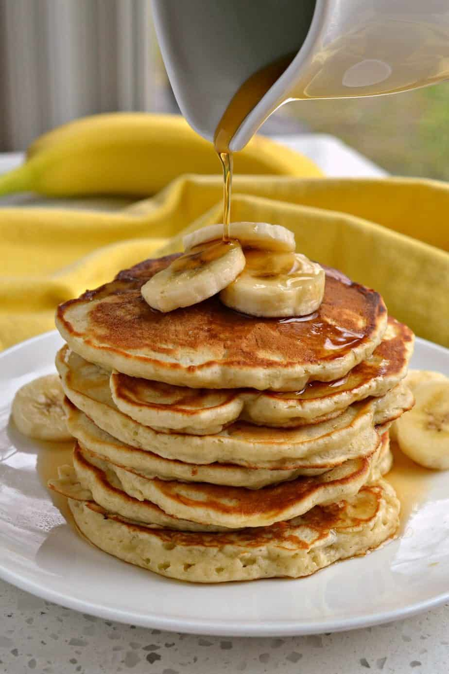 Banana Pancakes are a fantastic way to get that moist banana bread flavor in easy to make small portioned pancakes.