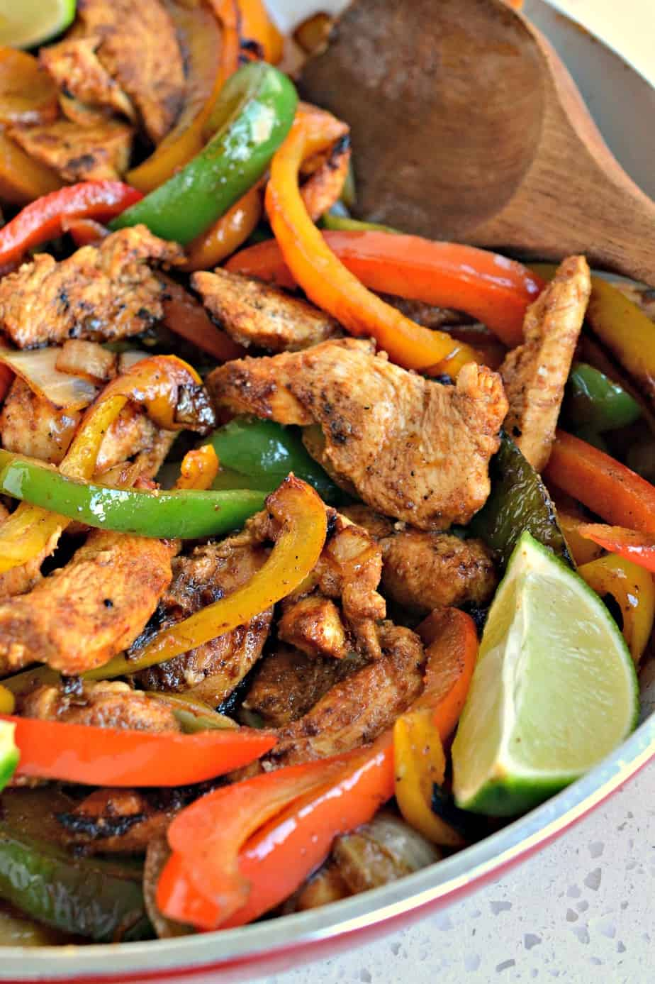 Delicious Chicken Fajitas made easy at home in one skillet and better than your favorite Mexican Restaurant.