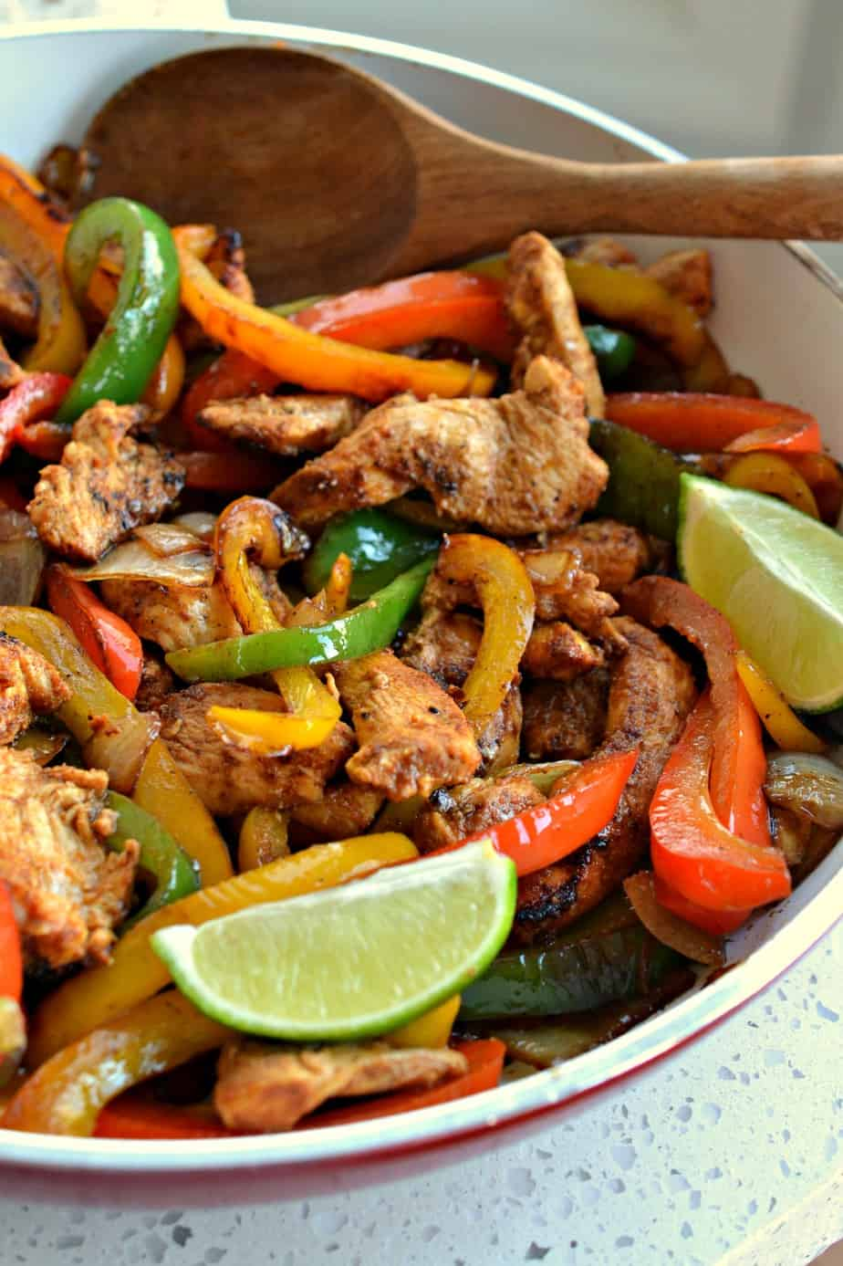 These Easy Chicken Fajitas are bursting with plenty of flavor from chili powder, garlic, smoked paprika and cumin,
