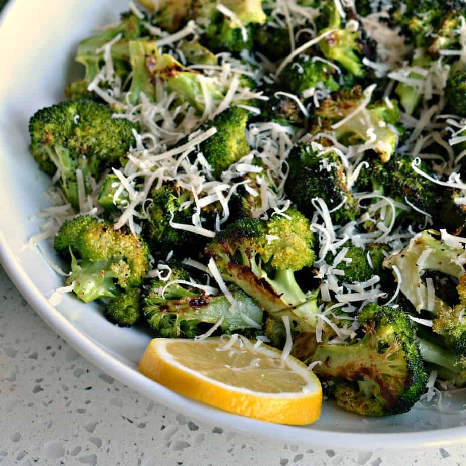 This delicious recipe takes Oven Roasted Broccoli to a whole new level with fresh lemon juice and grated Parmesan Cheese.