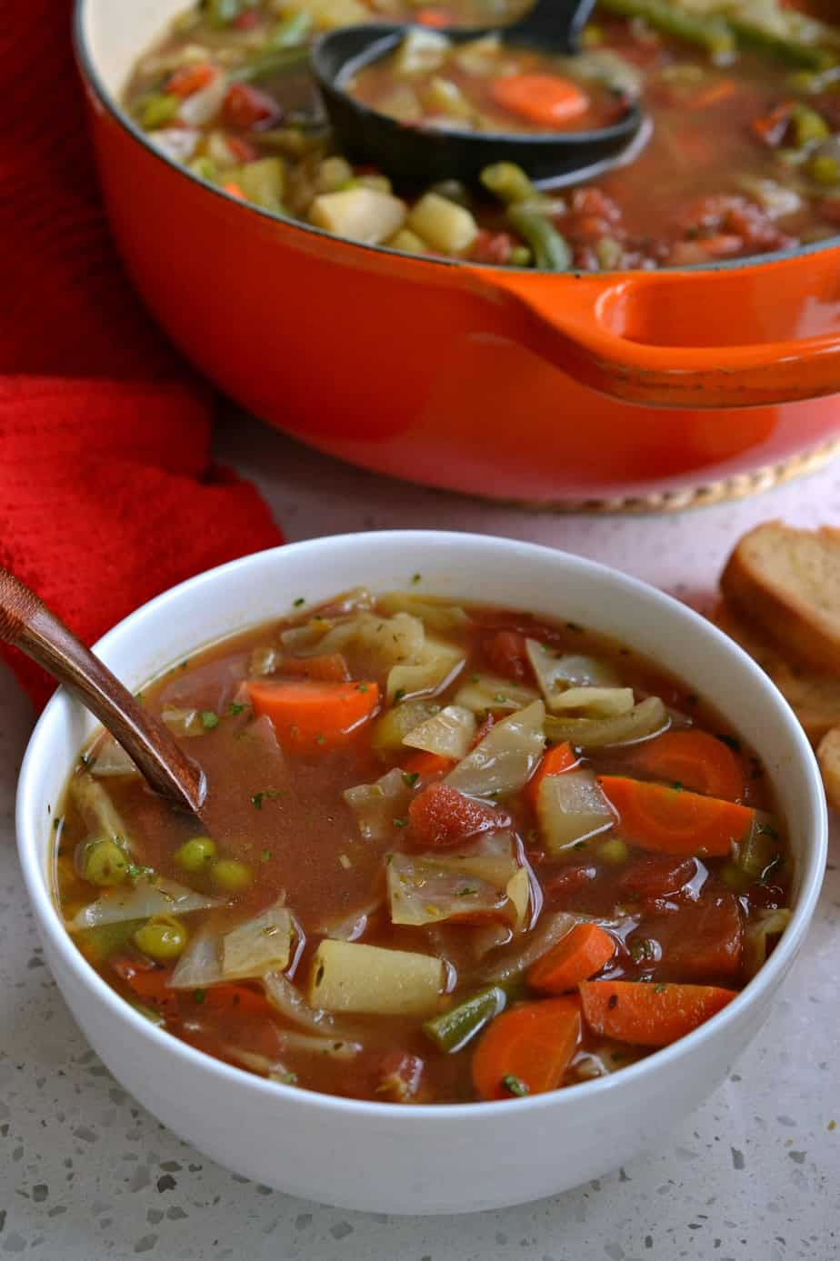 This tasty Vegetable Soup is the perfect pick me up for the winter blahs and for those with the coughs and sniffles.