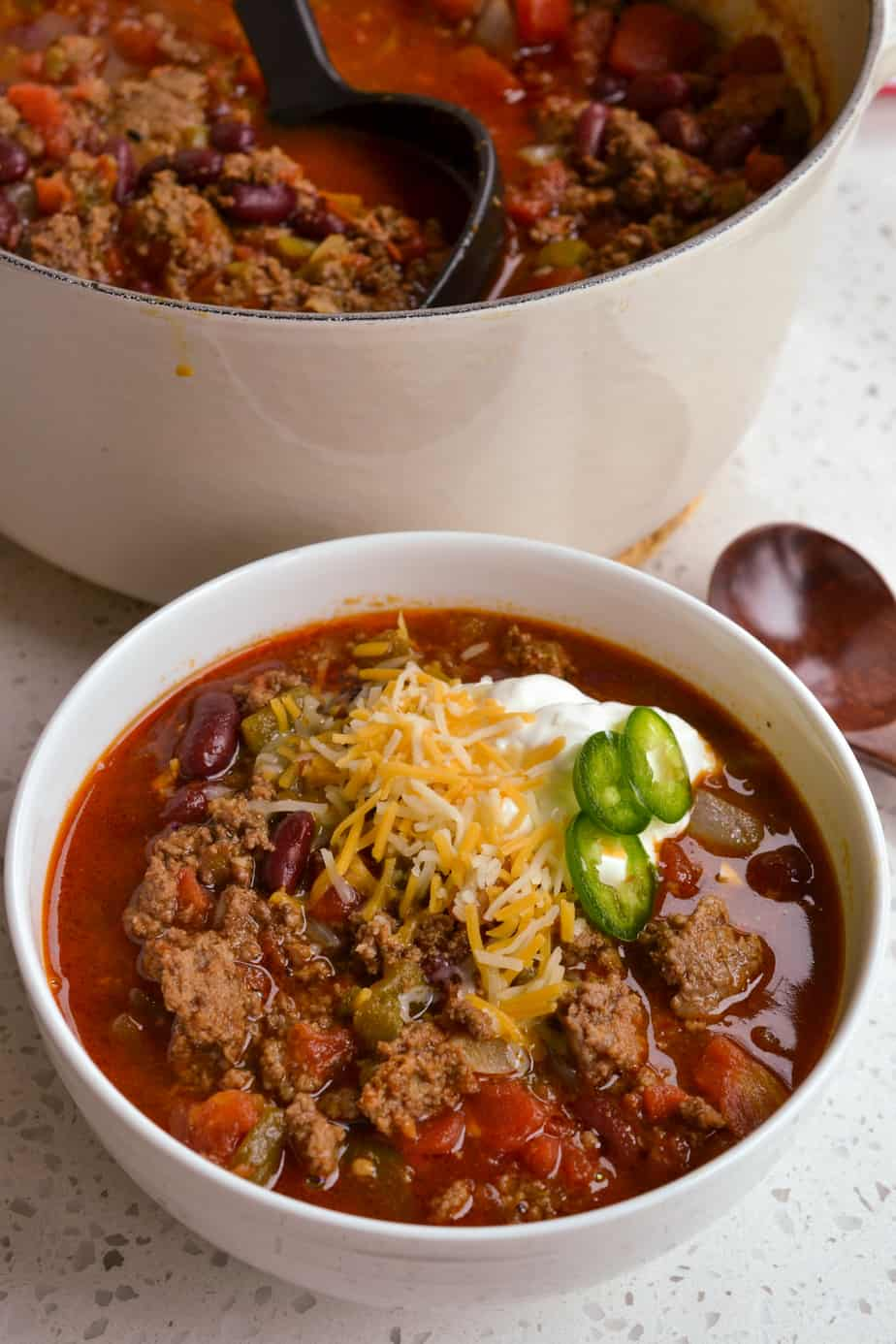 The Best Chili Recipe is the ultimate balance of spicy and thick with a touch of brown sugar sweetness.