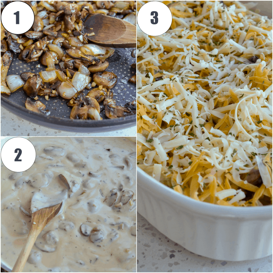 This creamy Chicken Tetrazzini is made easy with a luscious cheddar cheese sauce over chicken, spaghetti, mushrooms, onion, and garlic.