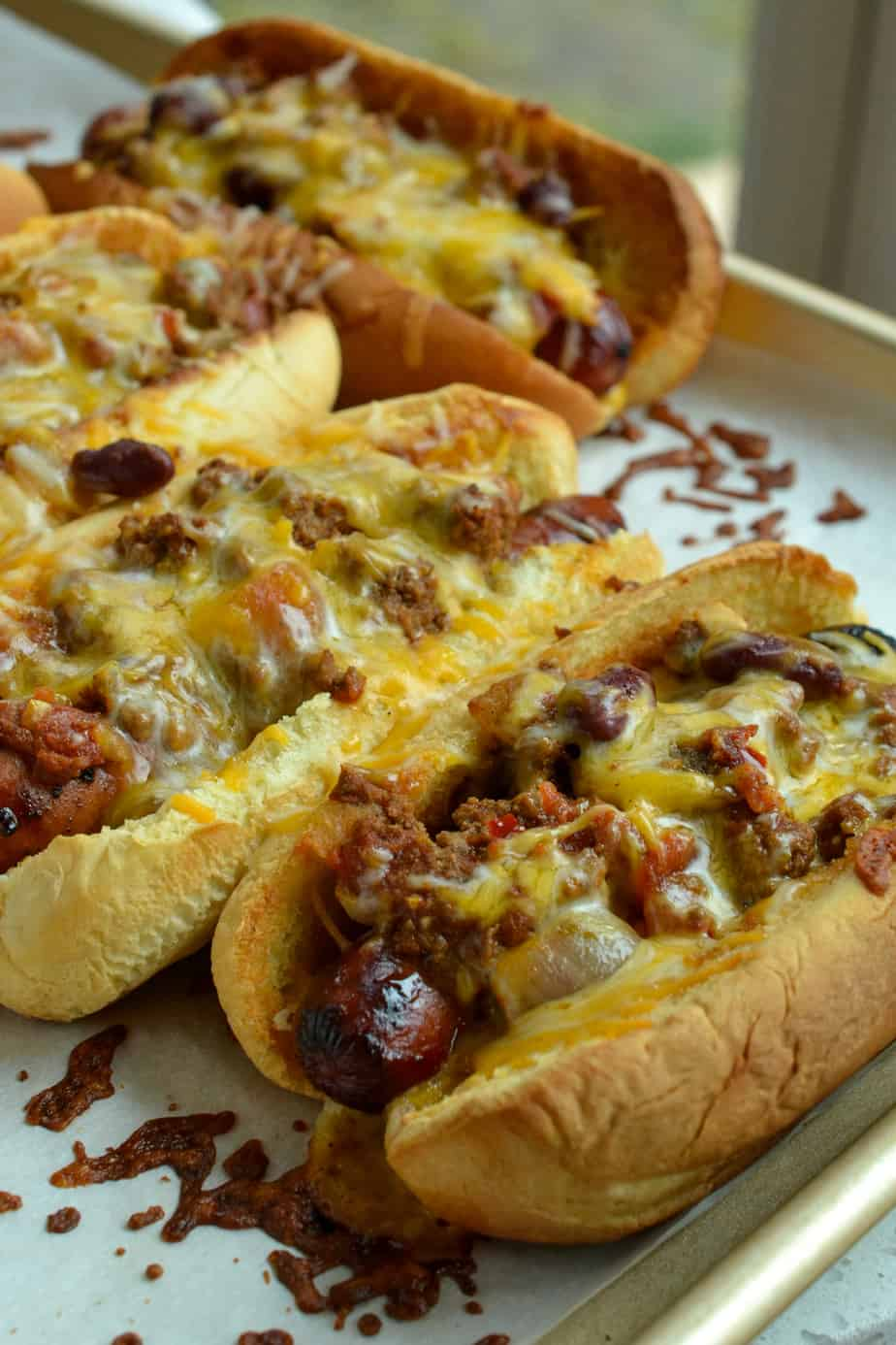 I love to make a big batch of chili and freeze half of it for these Chili Cheese dogs for the following week.
