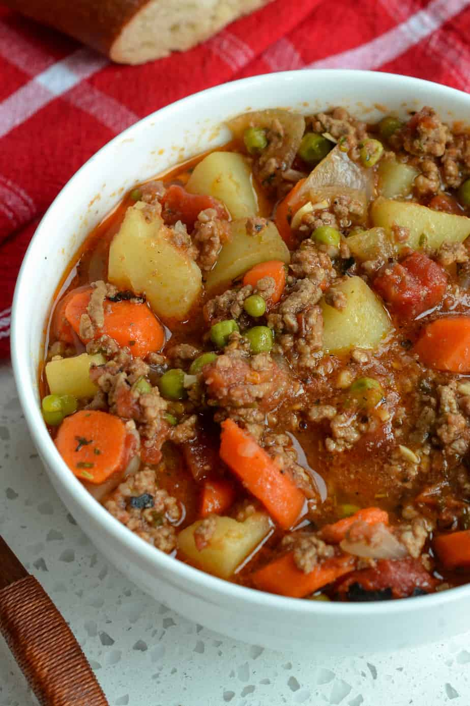 This fun and easy Hamburger Stew recipe comes together quite quickly making it doable for a weeknight meal.