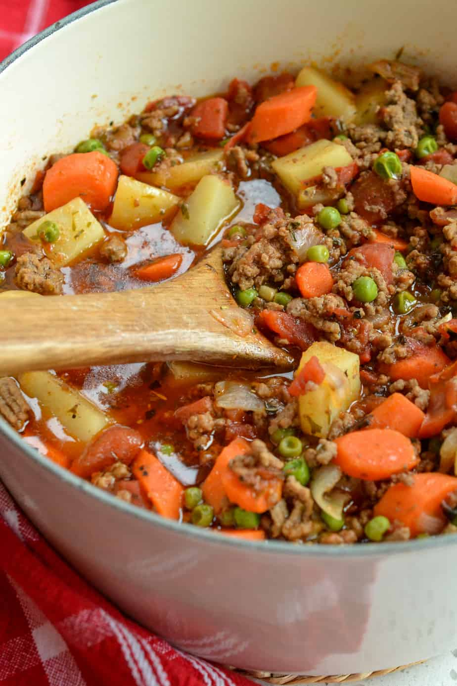 Old fashioned hamburger stew is made in about forty minutes with ground beef, fresh vegetables and a easy blend of spices
