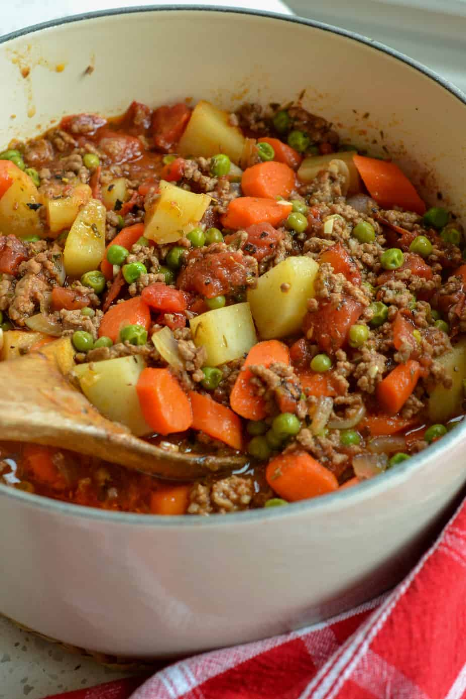 This quick and easy family friendly Hamburger Stew is made in about forty minutes right on the stovetop.