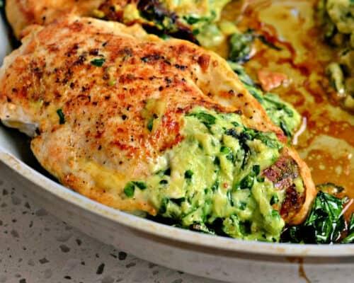 Gefüllte Hähnchenbrust mit Spinat