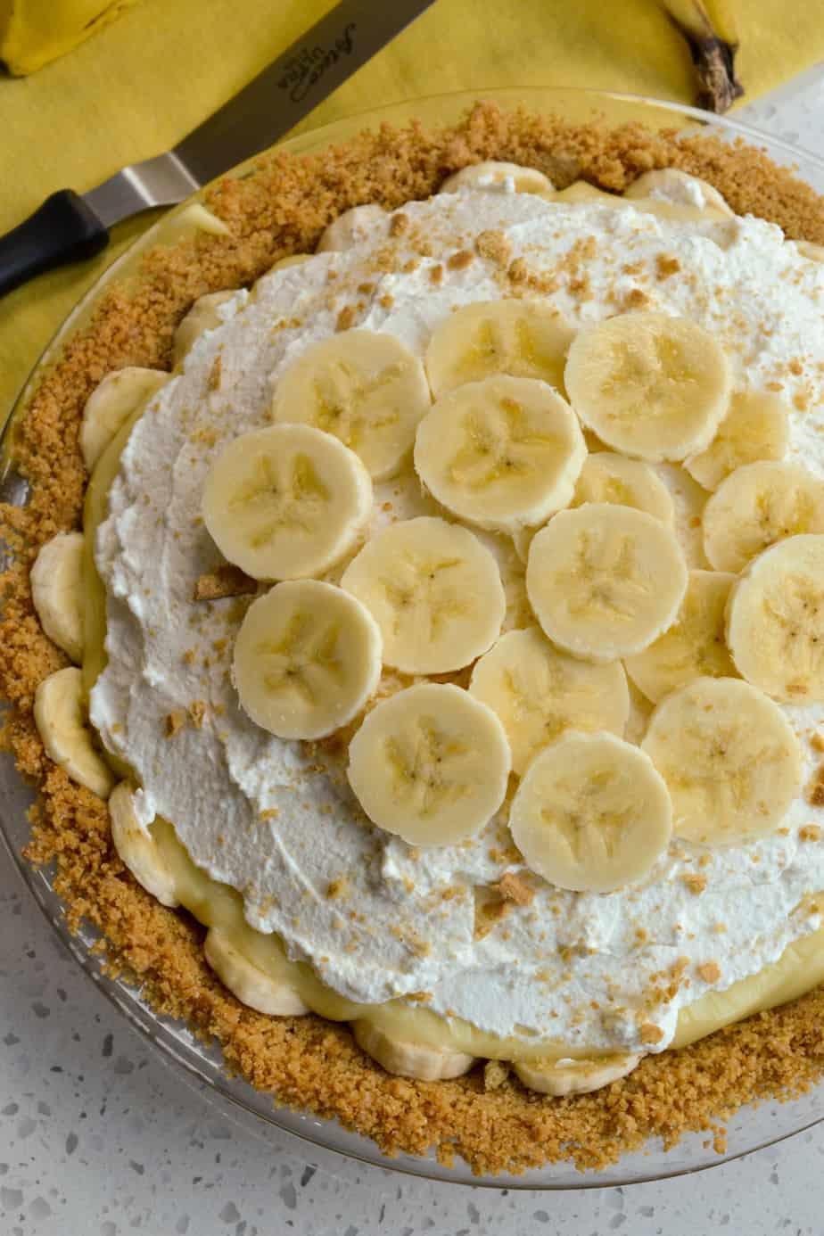 Creamy banana pie with a fresh graham cracker crust and homemade vanilla pudding.