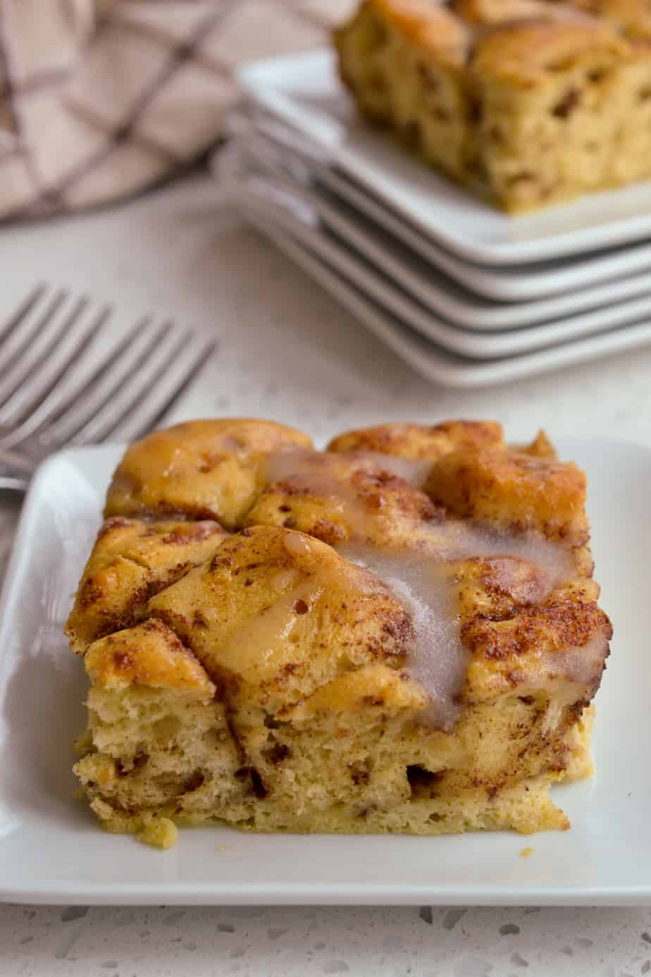 Refrigerated Cinnamon Rolls are combined with eggs and spices and baked.