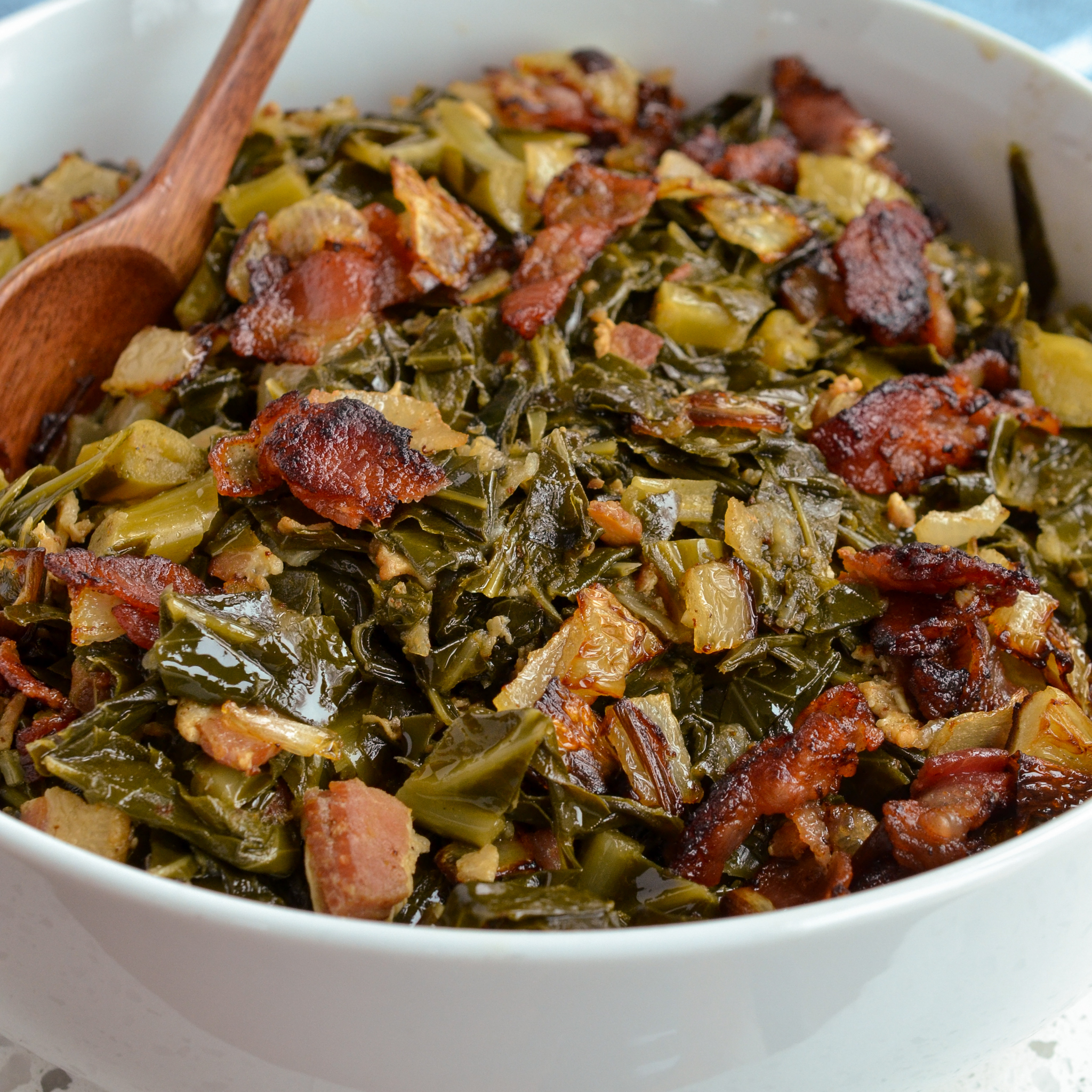 These scrumptious and easy Southern Greens are the perfect side for all your favorite southern main courses.