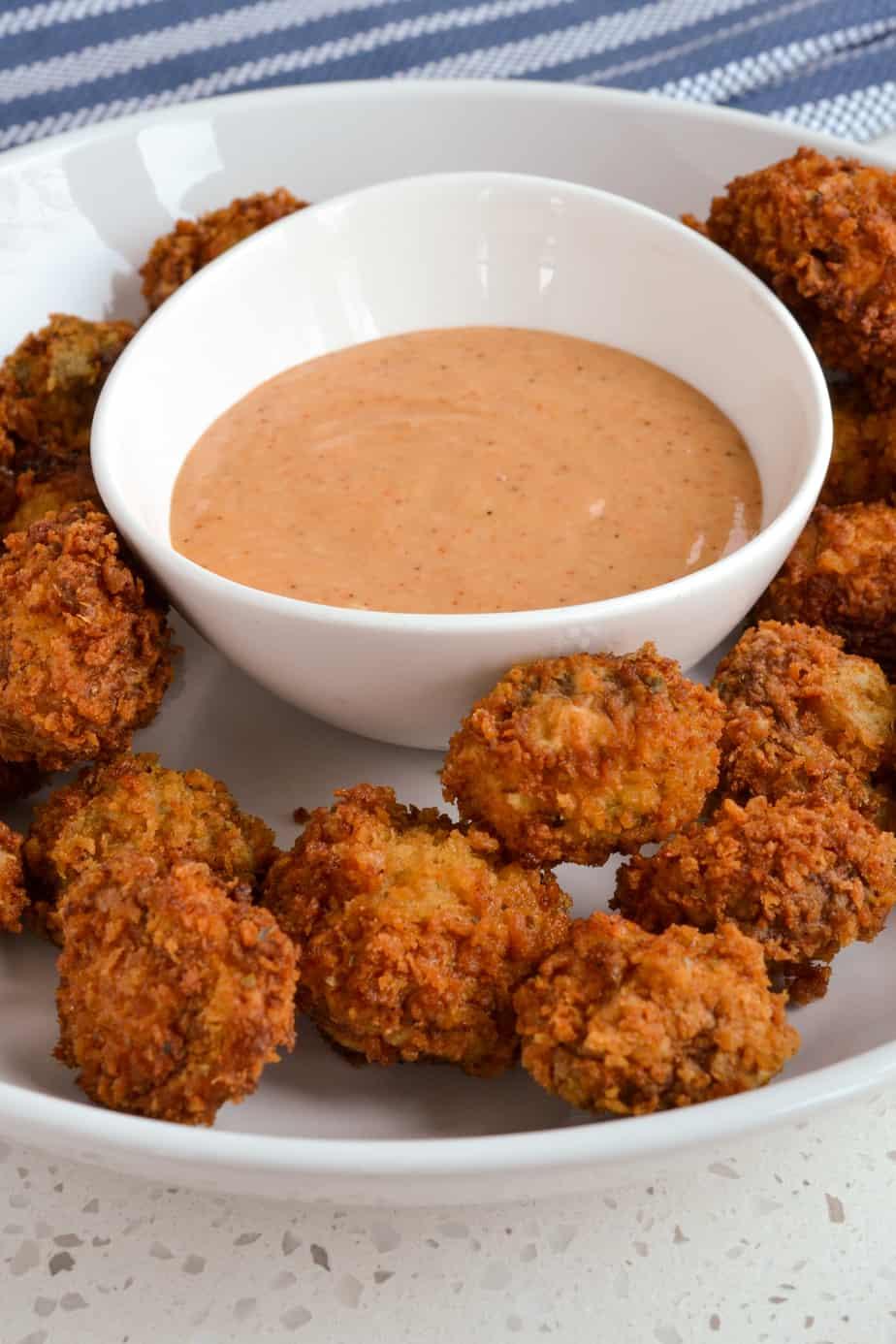 Golden fried panko breaded mushrooms