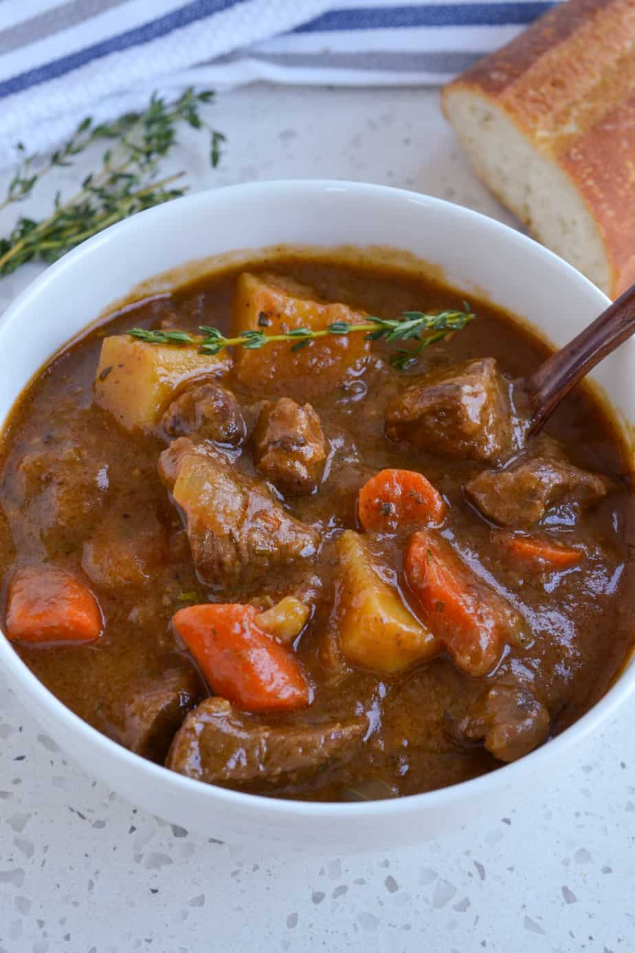 Slow cooked Irish stew with potatoes and carrots.