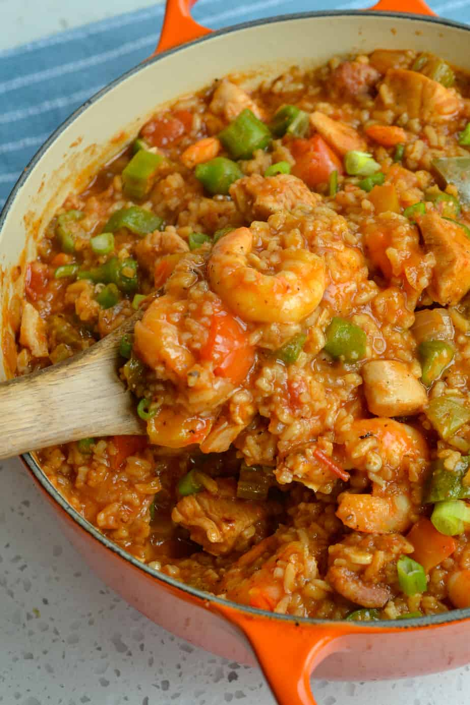 The creole mixed jambalaya includes shrimp and tomatoes.