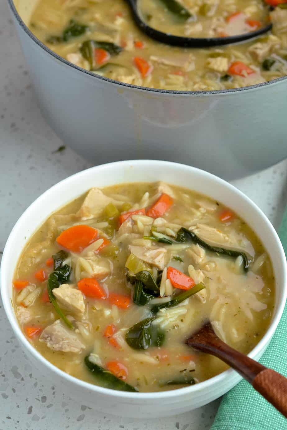 Delectable creamy chicken soup with orzo and spinach
