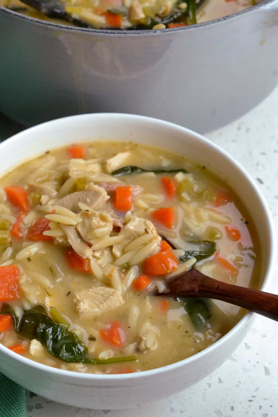 Chicken vegetable soup with orzo, spinach and lemon juice.