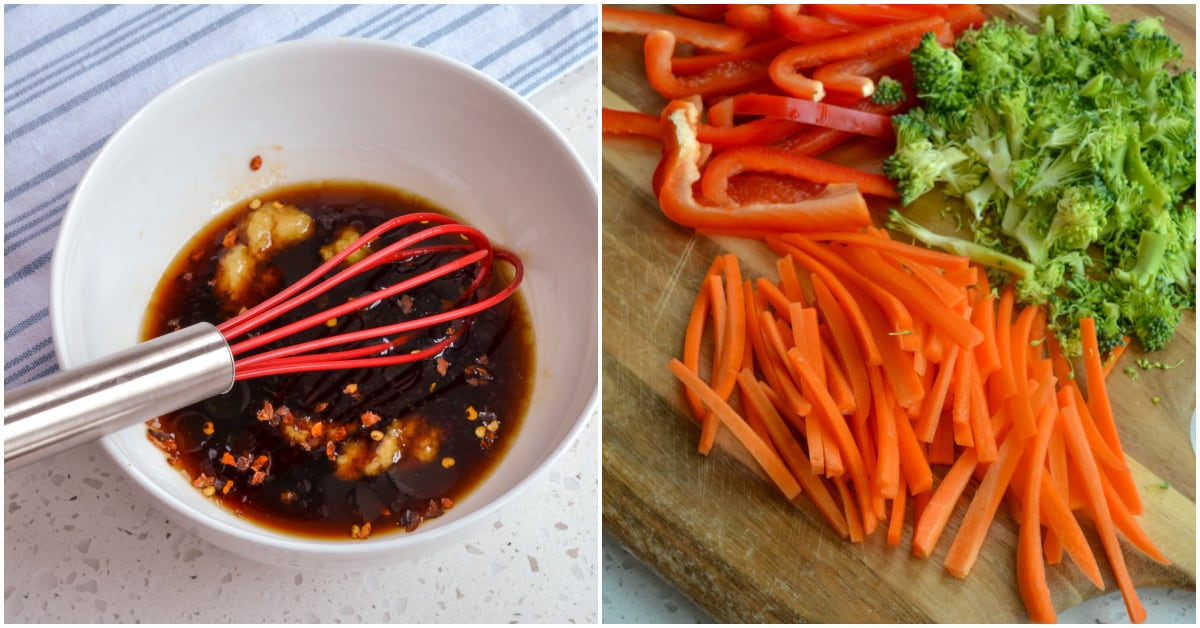 A stir fry noodle recipe with fresh vegetables and a spicy sweet sauce.