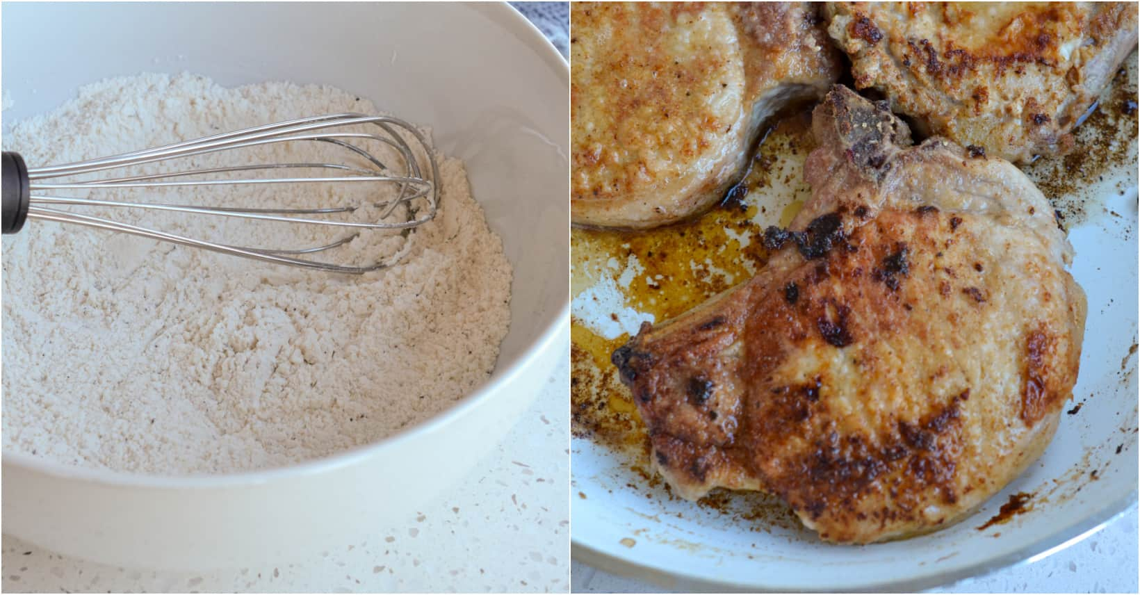First dredge the pork chops in a flour mixture than fry up in a little oil.