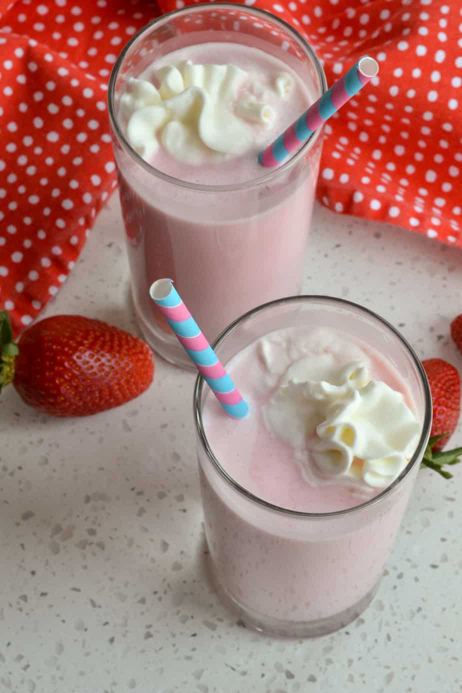 Ice cold milk is combined with homemade strawberry syrup for a real taste treat.