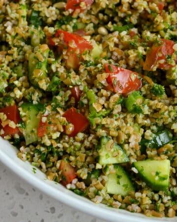 Mediterranean bulgur wheat salad with fresh herbs