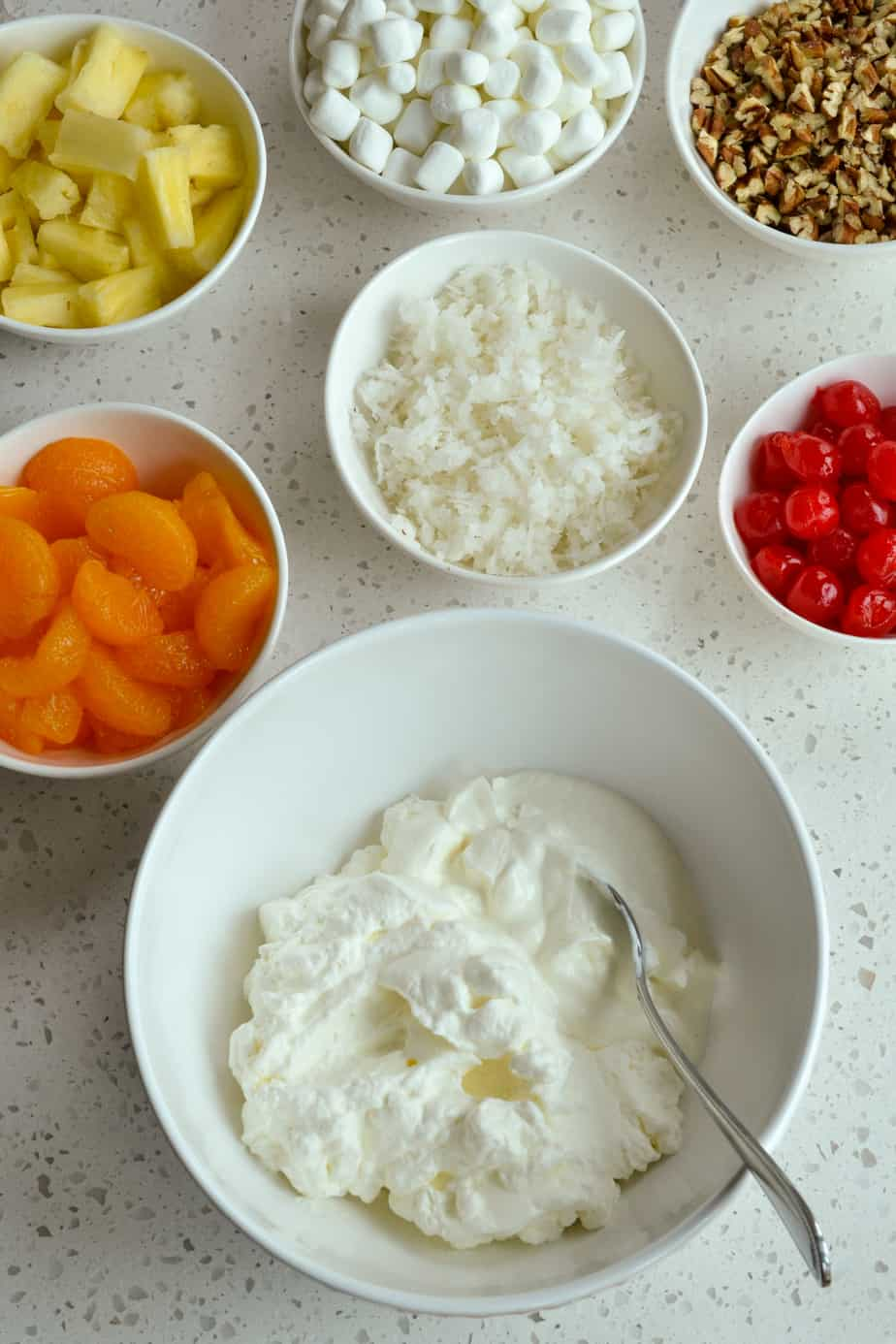 A display of everything you need to make ambrosia salad.