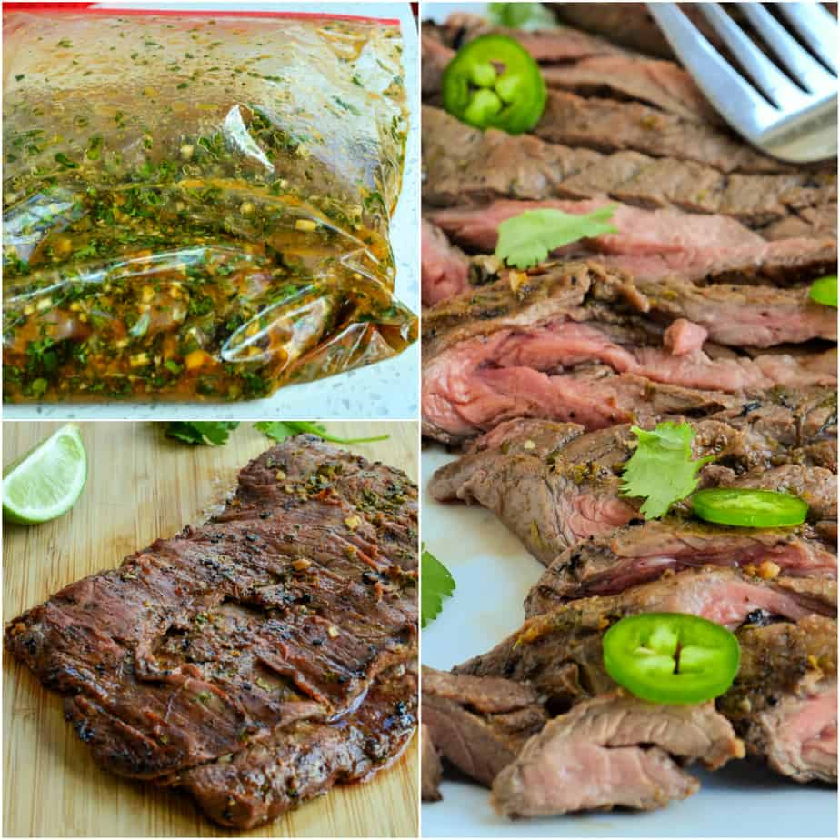 Carne asada is marinated for at least four hours before being grilled.