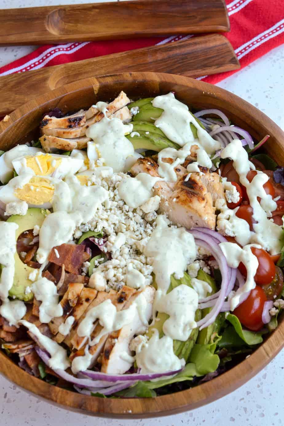 Cobb Salad with homemade avocado ranch dressing