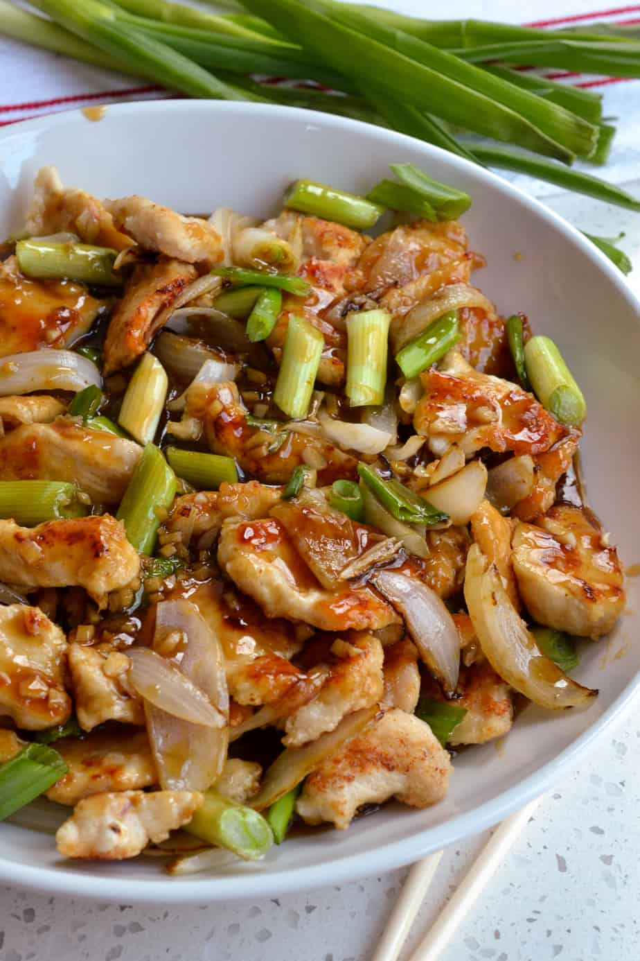 Mongolian chicken with browned onions and scallions