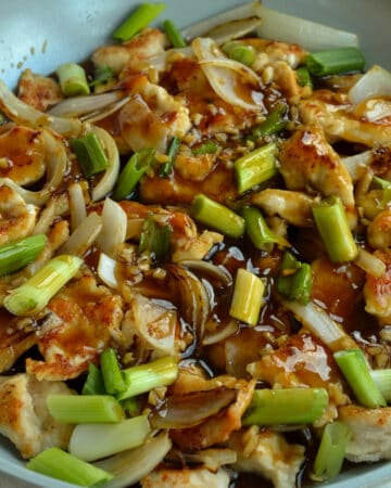 Stir fried chicken with mongolian sauce