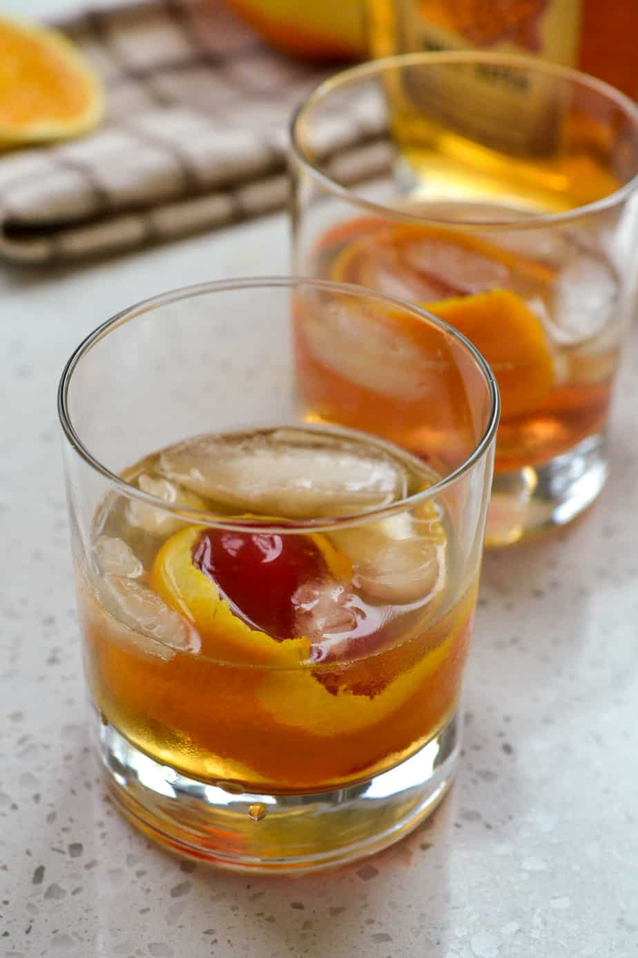 Glass of bourbon whiskey cocktail