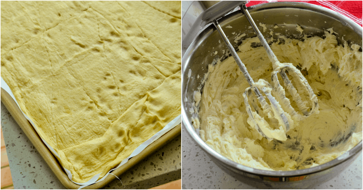 Spread the crescent rolls in the baking sheet and mix the cream cheese.