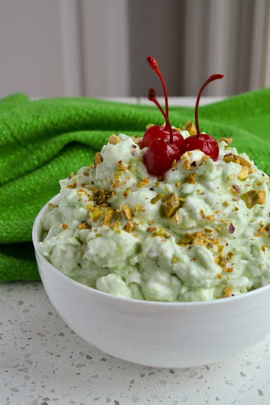 A bowl of pistachio fluff