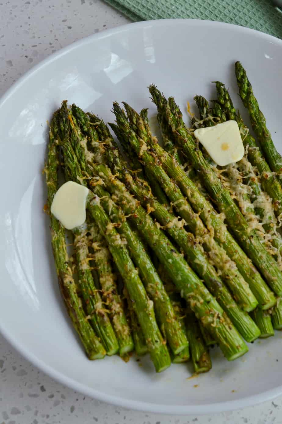 Fresh cooked air fryer asparagus