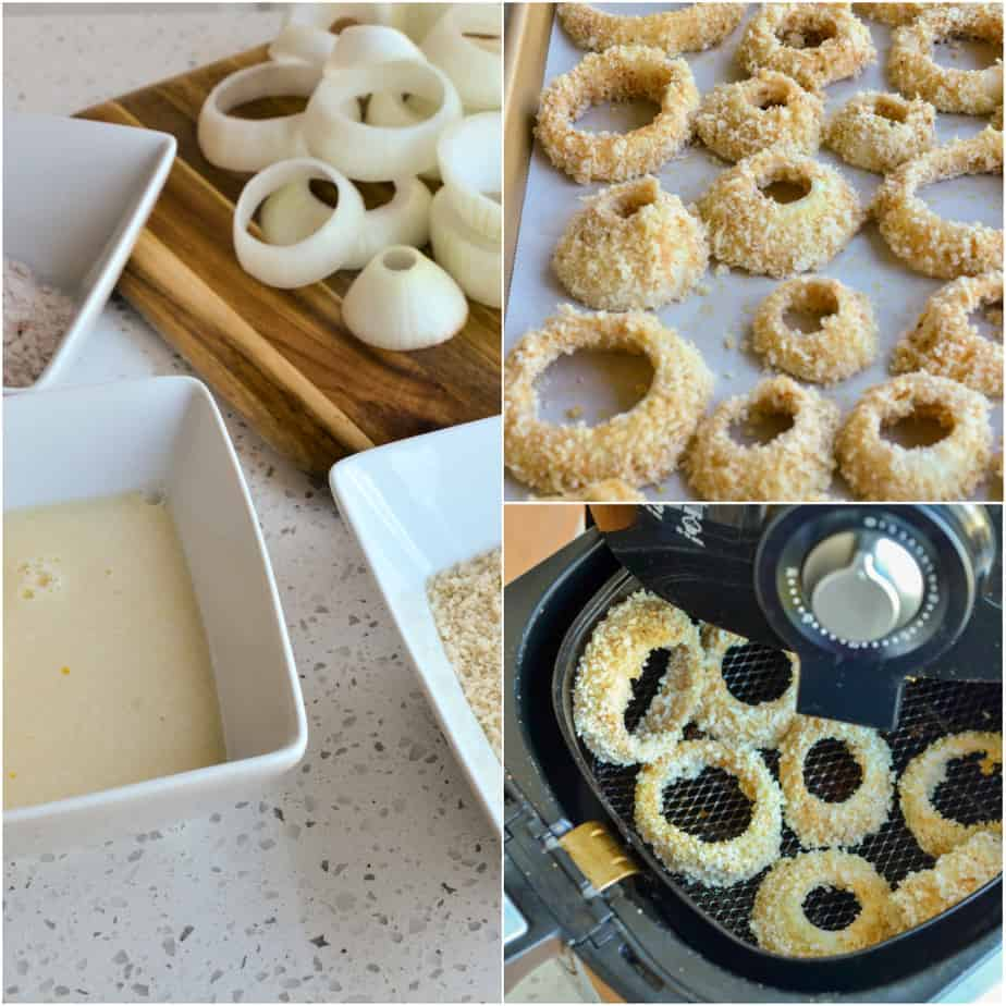 Breading air fryer onion rings is a three step process