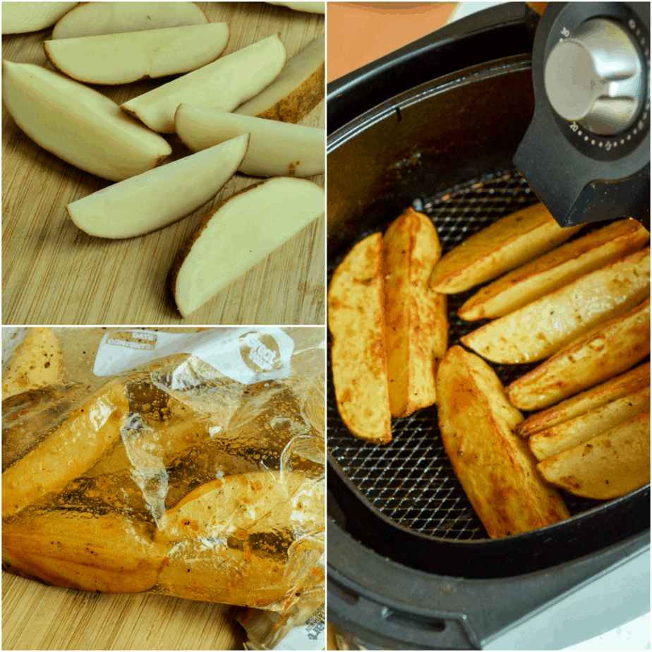 The steps to making air fried potato wedges
