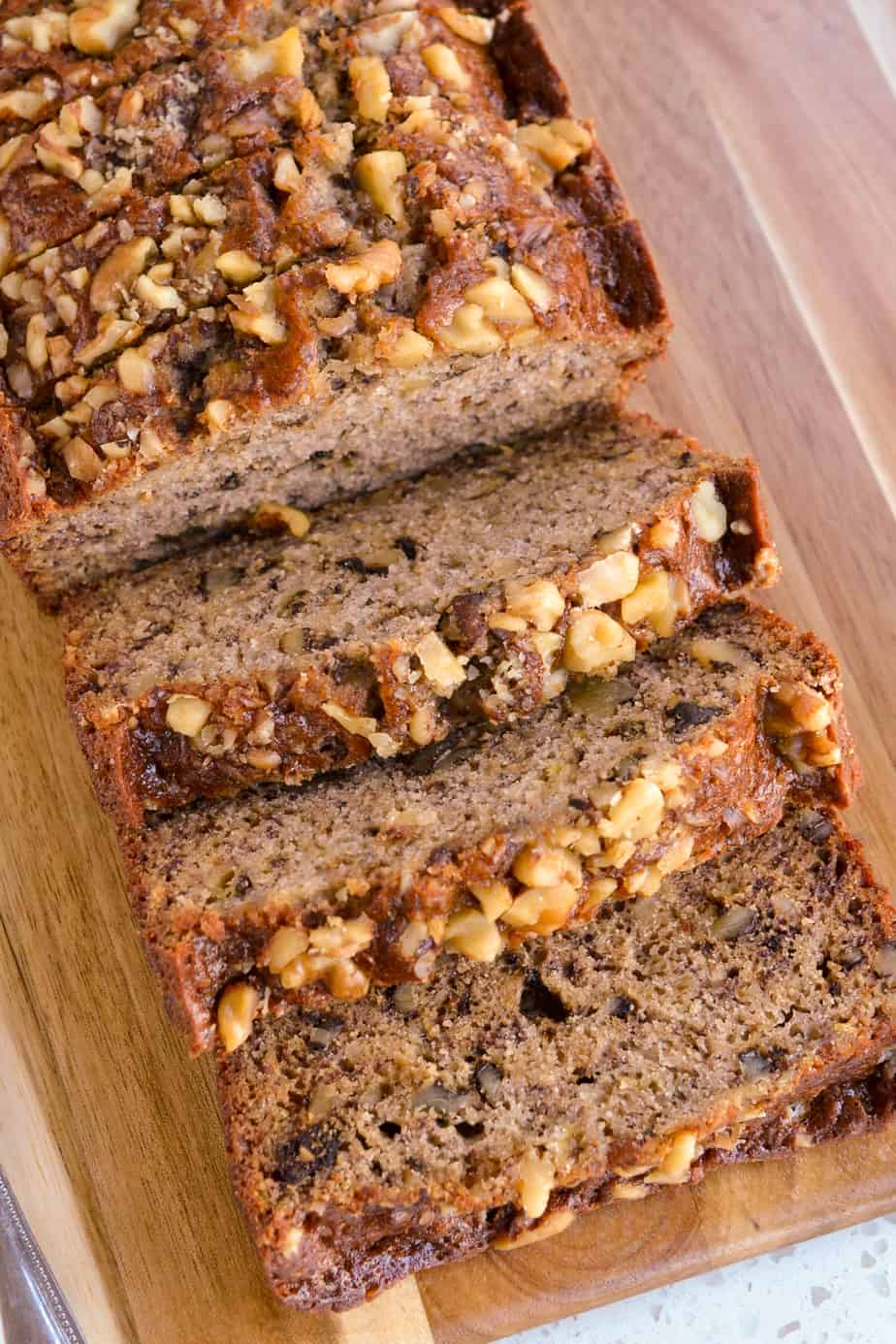 Slices of moist banana bread with walnuts