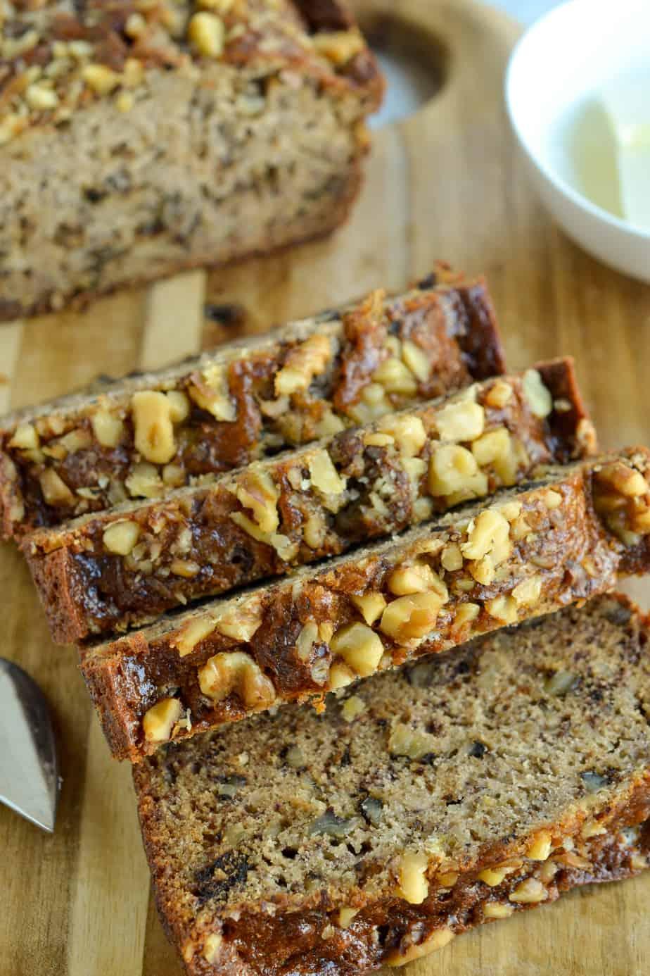 Moist banana bread with walnuts