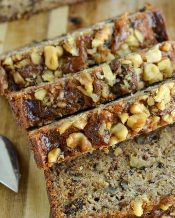 Slices of banana walnut bread