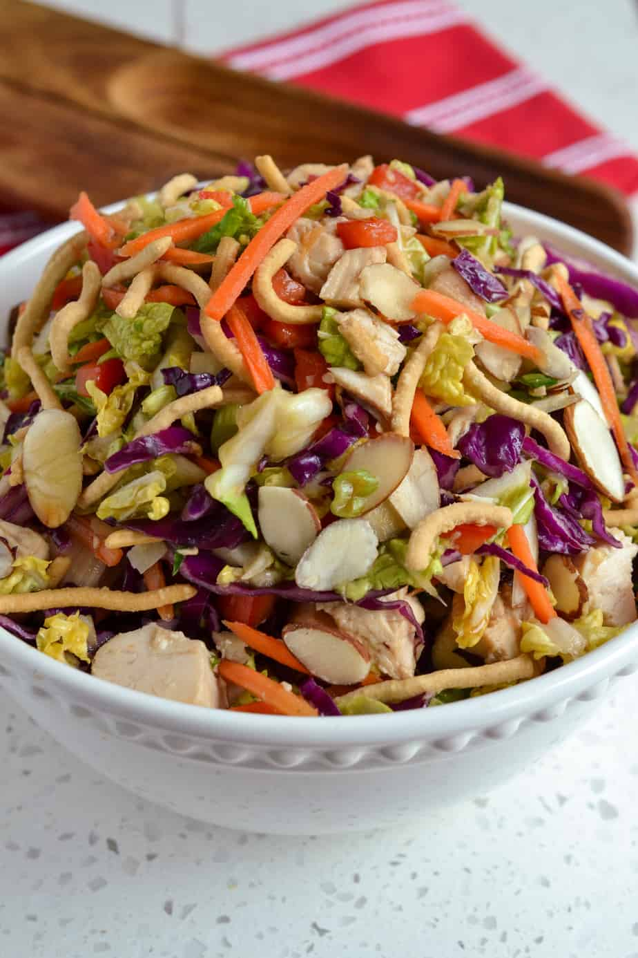 Chinese Chicken Salad with Napa cabbage, carrots and almonds.