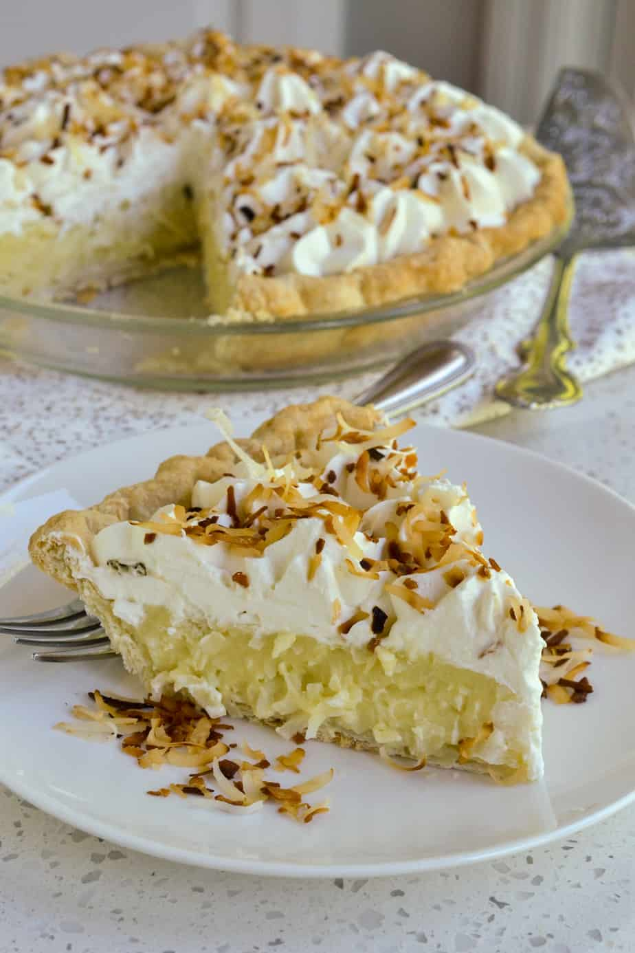 Coconut Cream Pie with fresh toasted coconut.